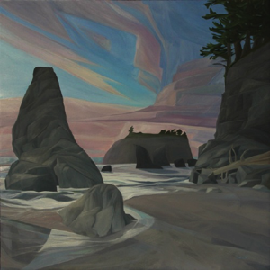 "Ruby Beach ~ Olympic NP :: 30 x 30"" oil on wood :: 2017"
