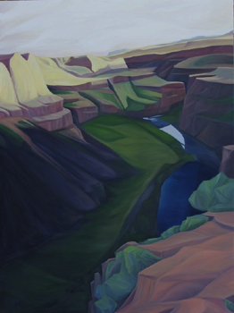 "Lower Palouse Falls (WA) :: 36 x 48"" oil on wood :: 2015"