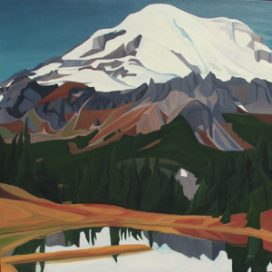 "Chinook Pass ~ Rainier NP :: 36 x 36"" oil on wood ::2017"