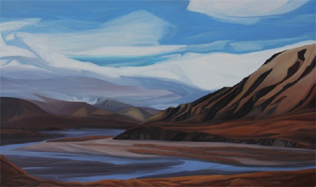 "East Fork Toklat River ~ Denali NP :: 37h x 61w"" oil on wood :: 2015"