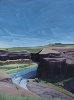 "Upper Palouse Falls (WA) :: 24 x 36"" oil on wood :: 2015"