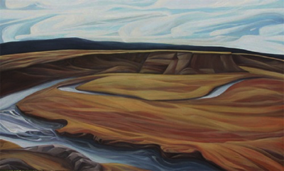"The Firehole ~ Yellowstone NP, WY :: 37h x 61w"" oil on wood :: 2014"
