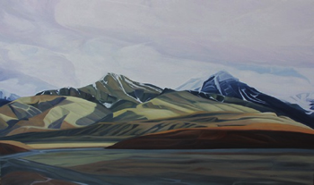 "McKinley River Flats ~ Denali NP :: 36h x 60w"" oil on wood:: 2016"