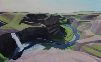 "Palouse Falls (WA) :: 36h x 48w"" oil on wood :: 2015"