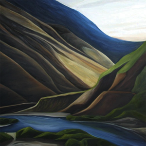 "River Canyon (Salmon River, Idaho) :: 30h x 30w"" oil on wood :: 2012"