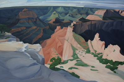 "Wotan's Throne ~ (North Rim) Grand Canyon NP (AZ) :: 48h x 72w"" oil on wood :: 2017"