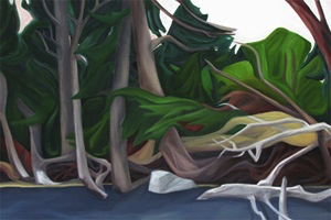 "Beach Forest  :: 21h x 31w"" oil on wood :: 2014"