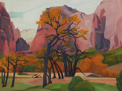 "Virgin River Valley (Zion National Park, Utah) :: 18 x 24"" oil on wood, 2017"
