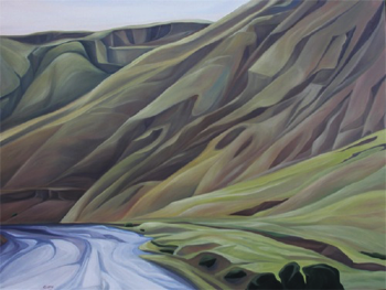 "Spring Morning (Yakima River, WA) :: 36h x 48w"" oil on wood :: 2015"
