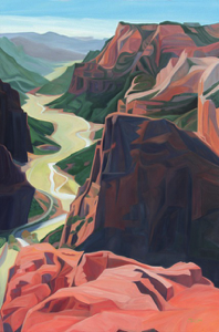 "Obervation Point (Zion National Park, Utah) 20 x 30"" oil on wood, 2018 :: In the Zion National Park Permanent Art Collection"
