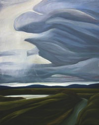 "Squall Over the Samish River :: 31h x 25w"" oil on wood :: 2012"