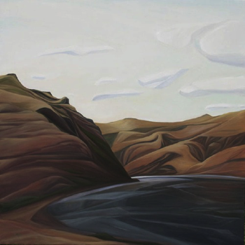 "Puffy Clouds (Clearwater River, ID) :: 48h x 48w"" oil on wood :: 2014"