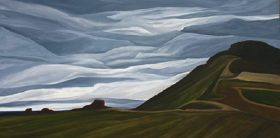 "Ebey's Weather (Ebey's Landing National Historical Reserve) :: 31h x 61w"" oil on wood :: 2012"