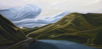 "Bend in the Yakima (WA) :: 30h x 60w"" oil on wood :: 2012"