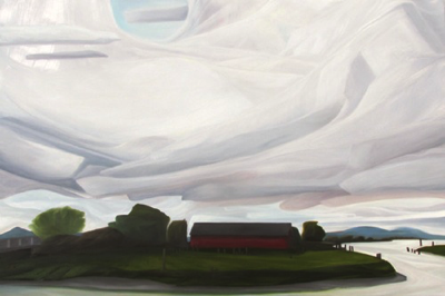 "Storm over Edison :: 30h x 40w"" ::  oil on wood  2013"