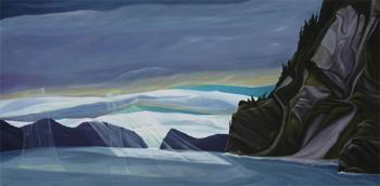 "Aialik Bay ~ Kenai Fjords NP :: 36h x 72w"" oil on wood :: 2013"