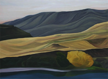 "Yellow Tree (Yakima River, WA) :: 36h x 48w"" oil on wood :: 2012"