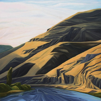 "Yakima Canyon (Yakima River, WA) :: 60h x 60w"" oil on wood :: 2013"