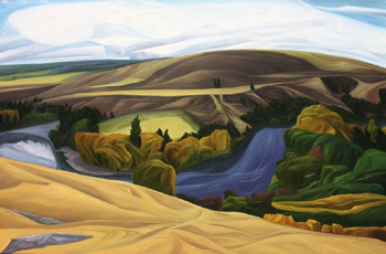 "Upper Yakima (Yakima River, WA) :: 48h x 72w"" oil on wood :: 2013"