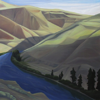 "Ledge View (Yakima River, WA) :: 49h x 49w"" oil on wood :: 2014"