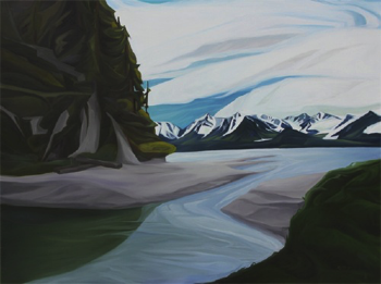 "Tonsina Point (Resurrection Bay) :: 36h x 48""w oil on wood :: 2015"