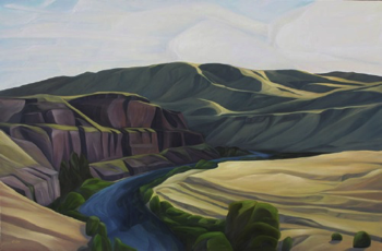 "Yakima Cliffs (WA) :: 48h x 72w"" oil on wood :: 2014"